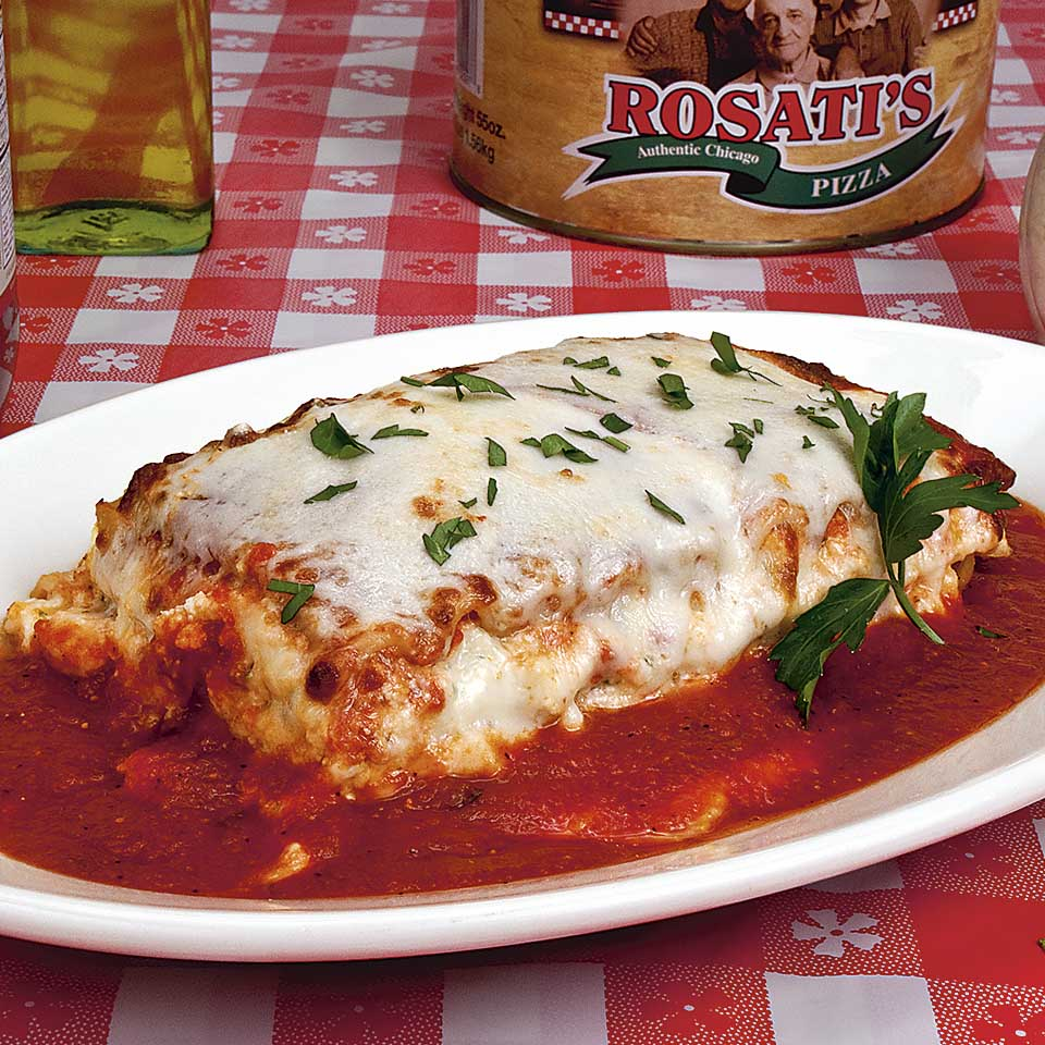 A delicious plate of Lasagna, food photography by Roselle Food photographer Controlled Color, Inc.