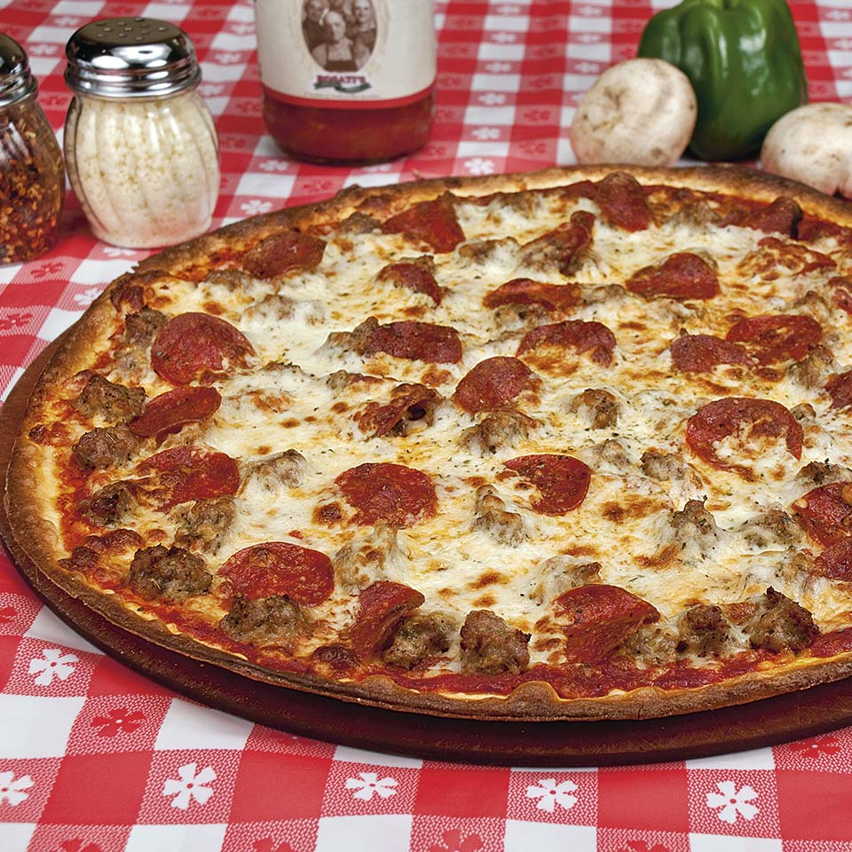 Sausage & Pepperoni Pizza from Rosati's - food photography by Roselle Food photographer Controlled Color, Inc.