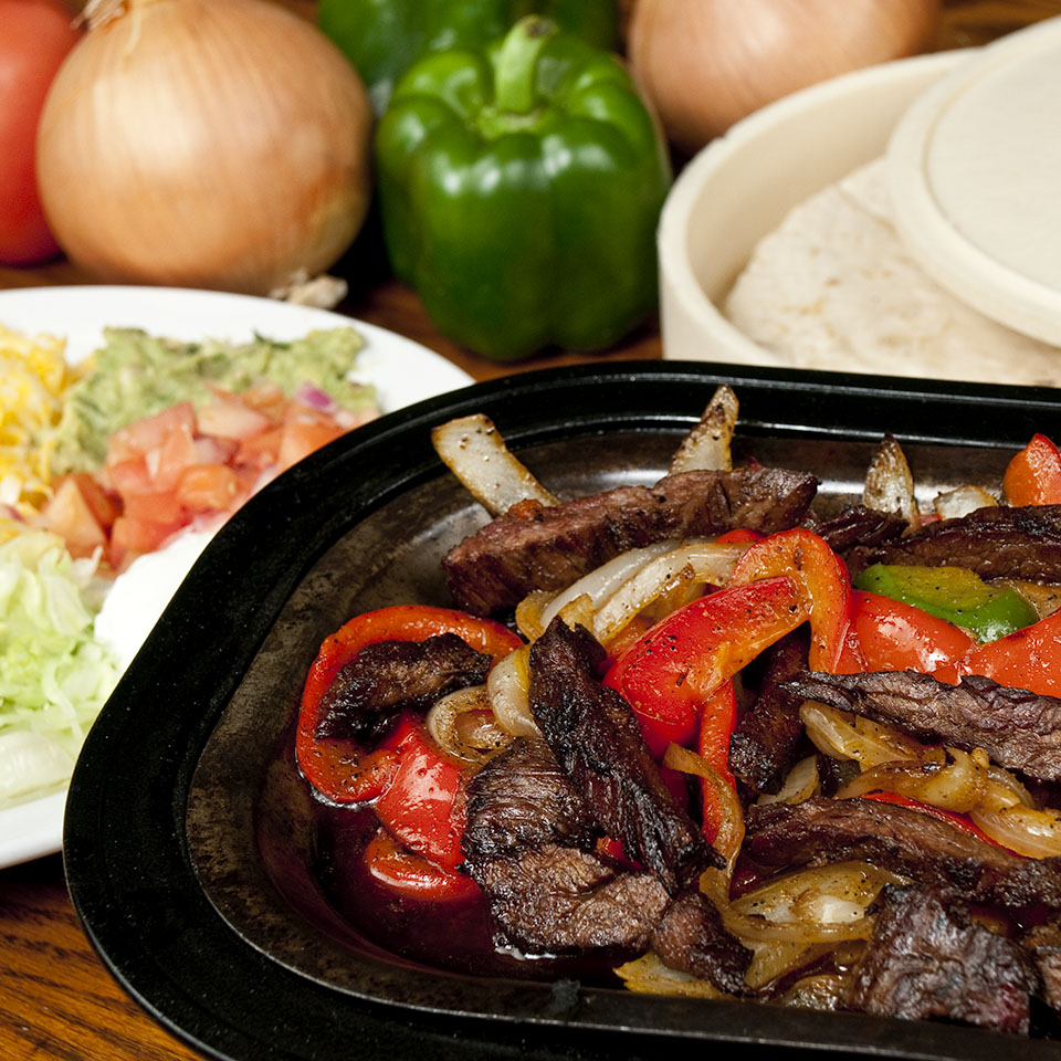 Steak Fajitas, food photography by Roselle Food photographer Controlled Color, Inc.