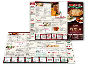 Menu Graphic Design from Roselle Graphic Designer Controlled Color, Inc.