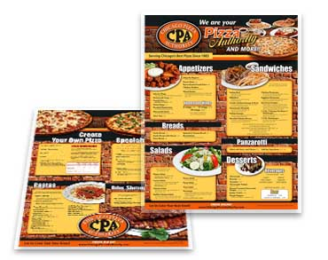 Roselle Dine-In Menu Graphic Design from Roselle Graphic Designer Controlled Color, Inc.