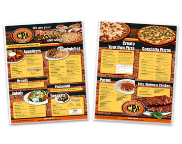 Dine-In Menu Printing - Dining Room menu printing, restaurant menu printing, Laminated menu printing, from Dine In menu Printer Controlled Color, Inc.