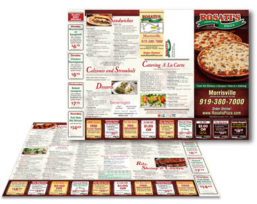 Mailer Menu Printing - carry out menu printing, pizza menu printing, take out menu printing, restaurant menu printing, from Mailer Menu Printer Controlled Color, Inc.