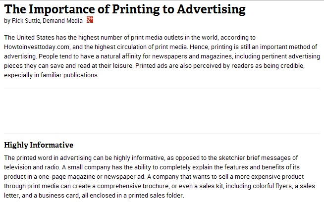 Graphic touting the importance of print advertising from Chicago Graphic Designer Controlled Color, Inc.