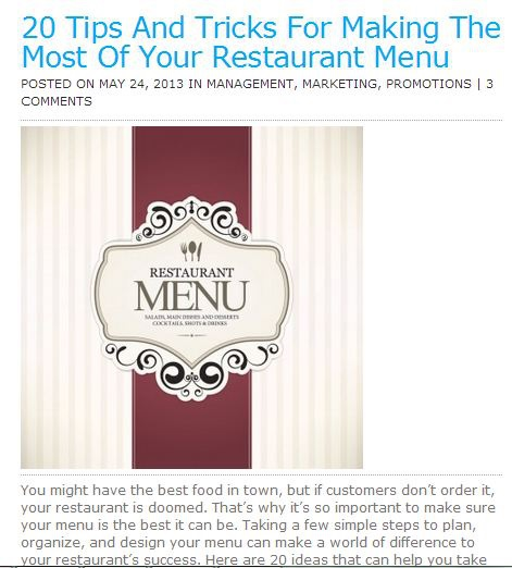 Restaurant menu graphic representing menu designer services available at Controlled Color, Inc.