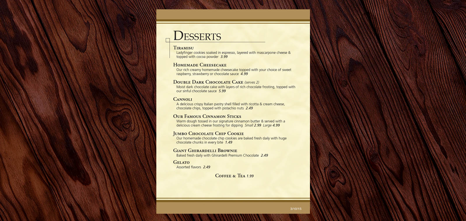 Dessert Menu Graphic Design from Roselle Graphic Designer Controlled Color, Inc.