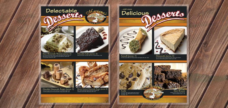 Restaurant Dessert menu Graphic Design from Roselle Graphic Designer Controlled Color, Inc.