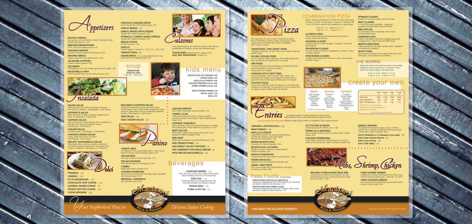 Restaurant Dine In menu Graphic Design from Roselle Graphic Designer Controlled Color, Inc.