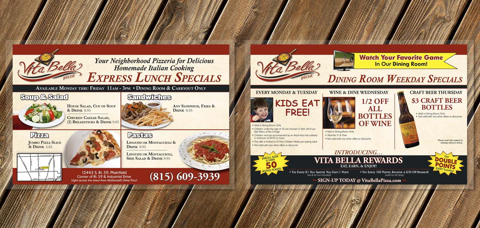Dine In Lunch Menu Graphic Design from Roselle Graphic Designer Controlled Color, Inc.