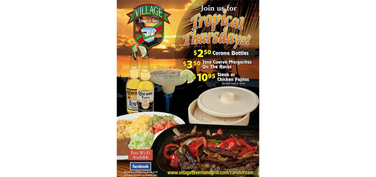 Final composite image of Fajitas On A Beach, a Tropical Thursday promotion for Village Tavern & Grill, created by Roselle Premedia company Controlled Color, Inc.