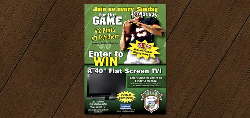 Football Game Day table tent design from Roselle Graphic Designer Controlled Color, Inc.