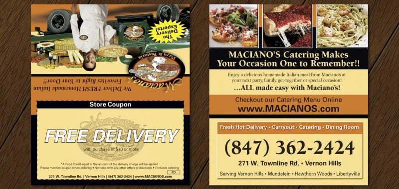 Free Delivery Tent Card Design from Roselle Graphic Designer Controlled Color, Inc.