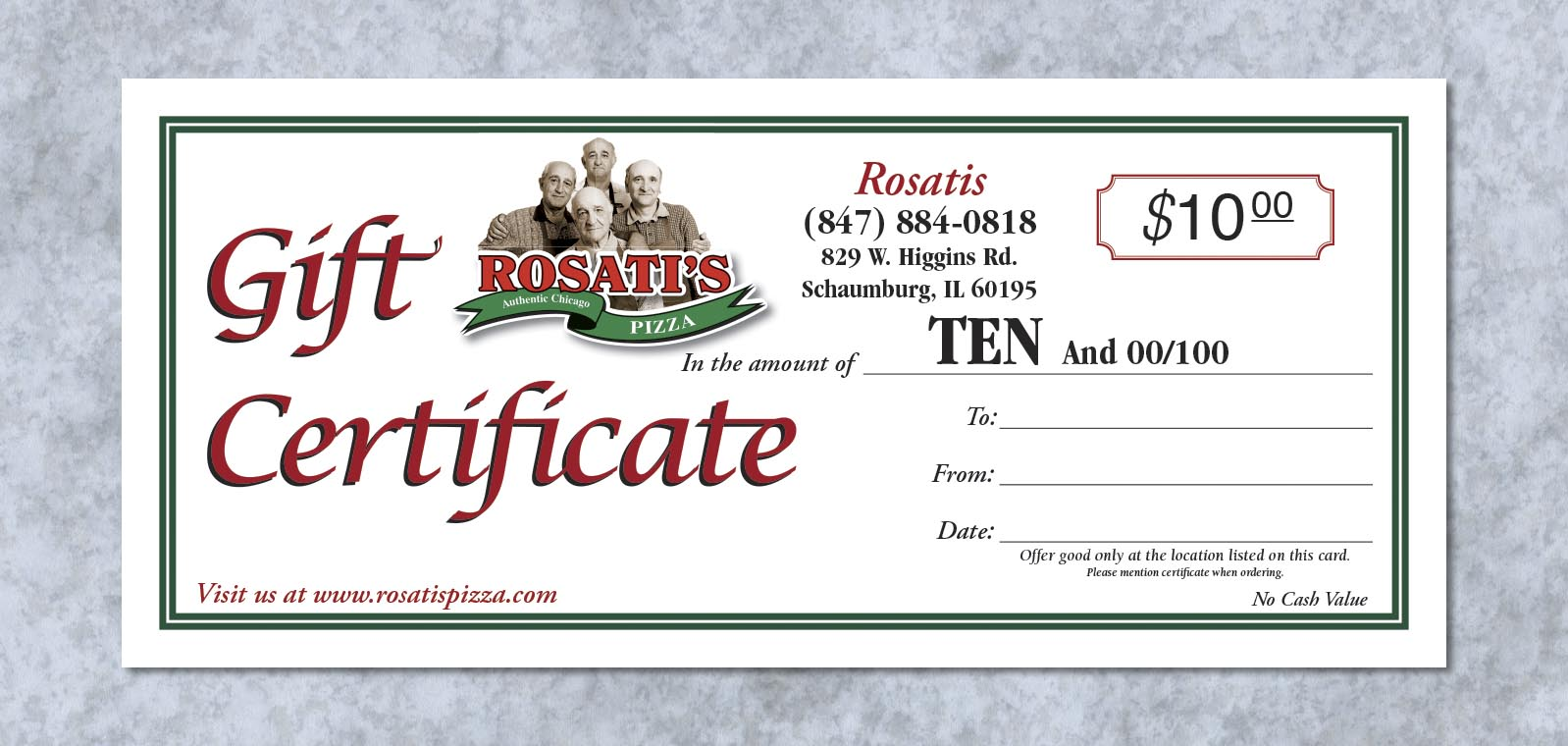 Gift Certificate Design from Roselle Graphic Designer Controlled Color, Inc.