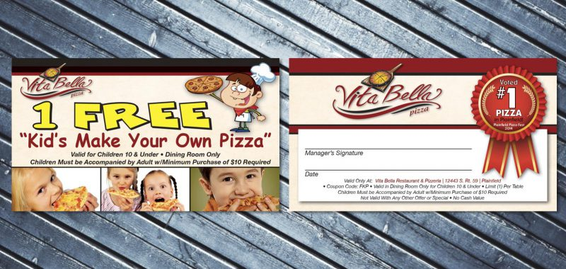 Free pizza card design from Roselle Graphic Designer Controlled Color, Inc.