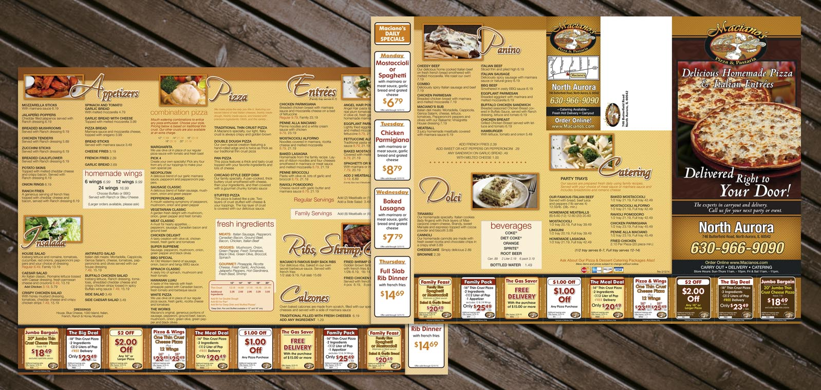 Carryout menu design and Mailer menu design by Roselle Graphic Designer Controlled Color, Inc.