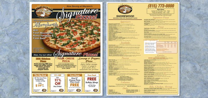 Pizza Box Topper Graphic Design for Maciano's Pizza and Pastaria by Roselle Graphic Designer Controlled Color, Inc.