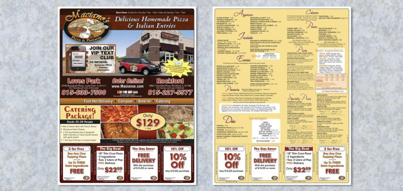 Pizza Box Topper Graphic Design for Maciano's Pizza and Pastaria by Roselle Graphic Designer Controlled Color, Inc