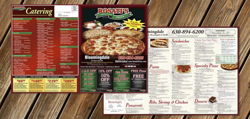 Pizza Box Topper Graphic Design for Rosatis Pizza by Roselle Graphic Designer Controlled Color, Inc.