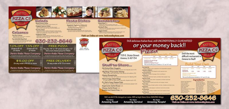 EDDM Postcard Graphic Design for Bato Sella Pizza by Roselle Graphic Designer Controlled Color, Inc.