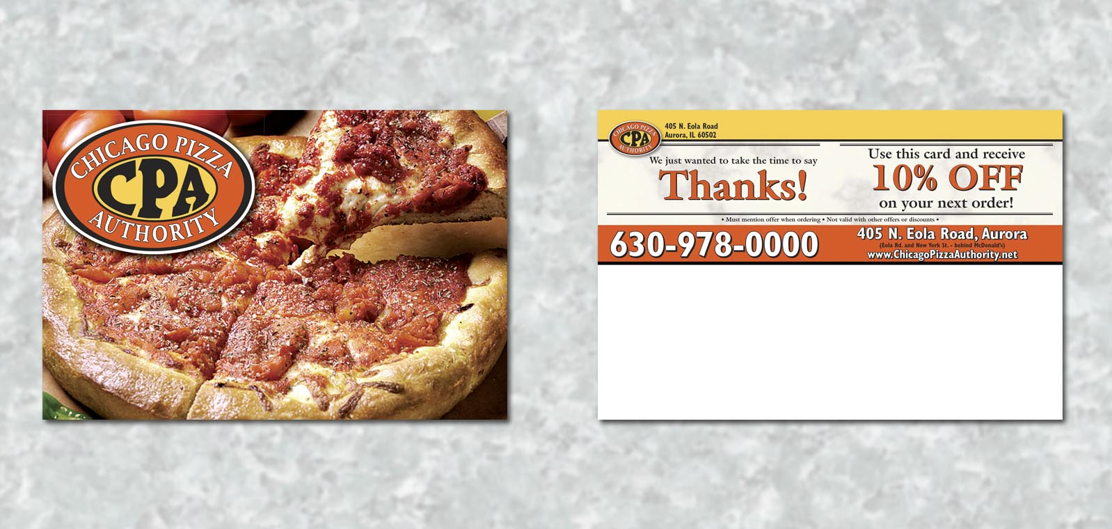 Postcard Graphic Design for Chicago Pizza Authority by Roselle Graphic Designer Controlled Color, Inc.