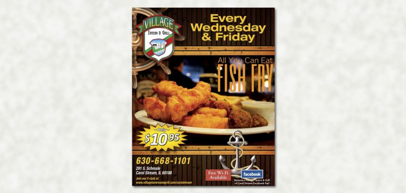 Poster Graphic Design for Village Tavern & Grill, by Roselle Graphic Designer Controlled Color, Inc.