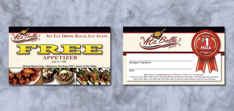 Bounceback Card Graphic Design for Vita Bella Pizza, by Roselle Graphic Designer Controlled Color, Inc.