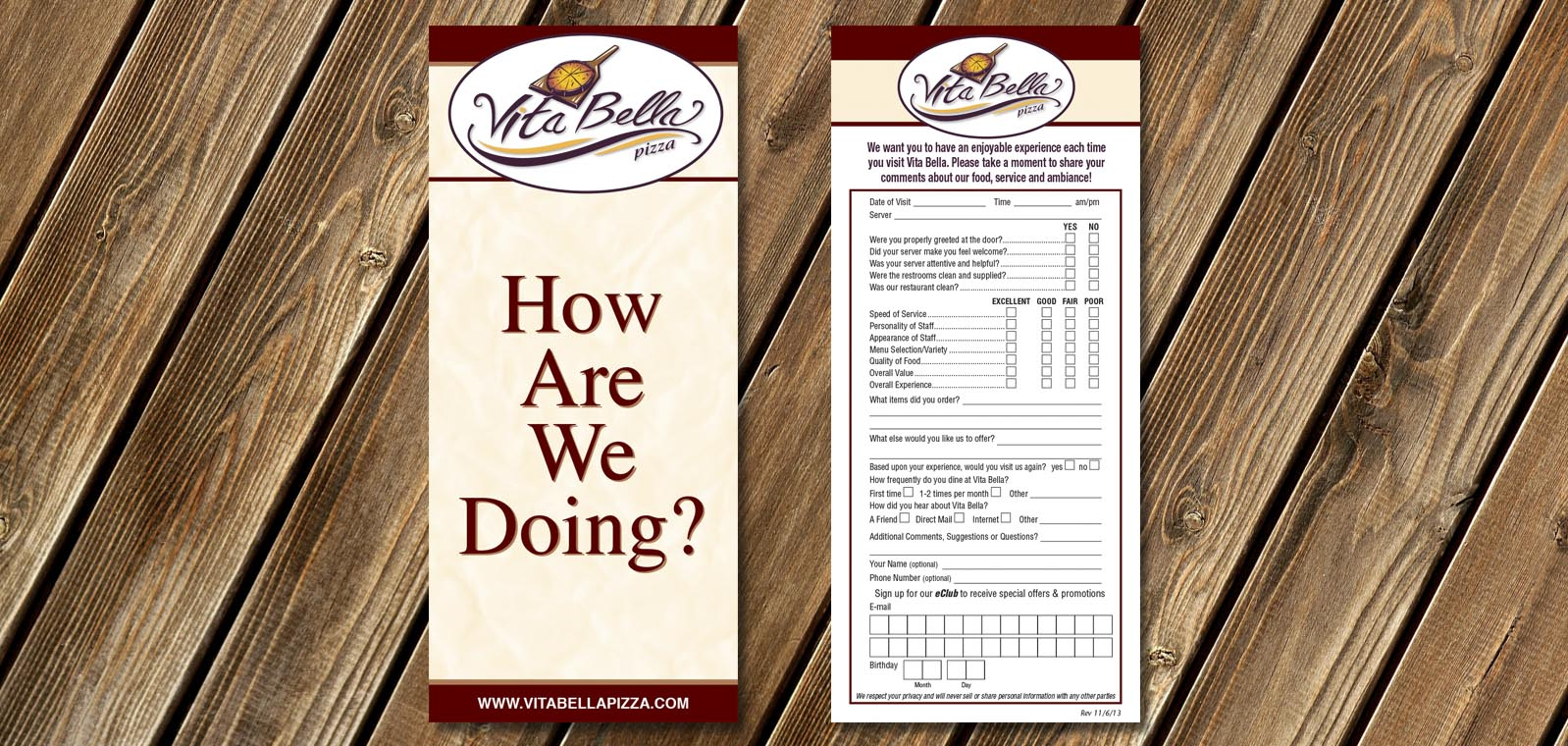 Comment Card Graphic Design for Vita Bella Pizza, by Roselle Graphic Designer Controlled Color, Inc.