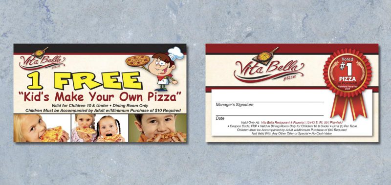 Kids Make Your Own Pizza Card Graphic Design for Vita Bella Pizza, by Roselle Graphic Designer Controlled Color, Inc.