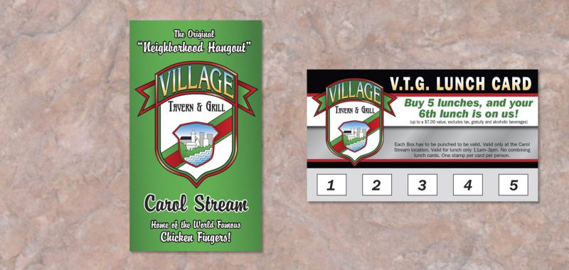 Lunch Card Graphic Design for Village Tavern & Grill, by Roselle Graphic Designer Controlled Color, Inc.