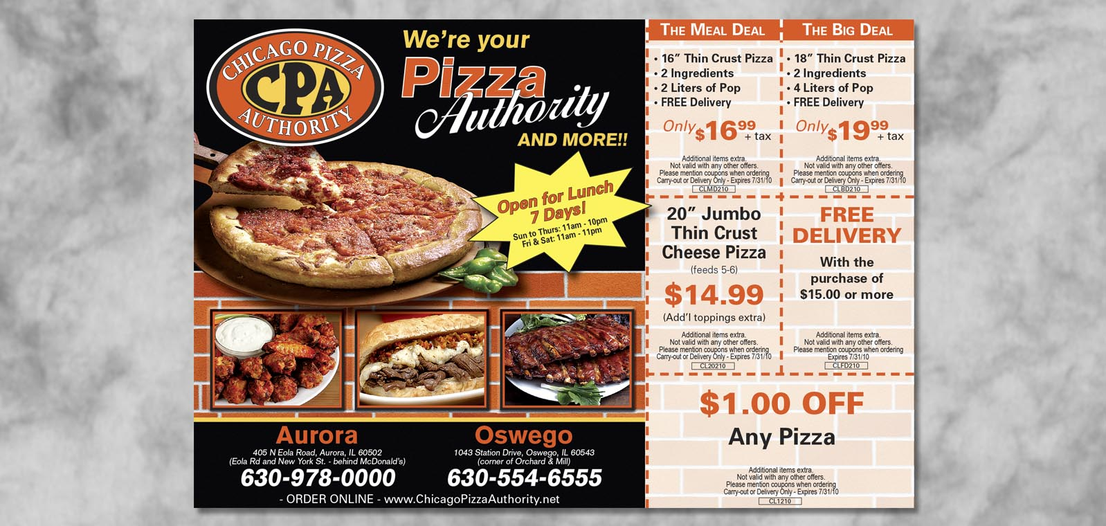 Publication Ad Graphic Design for the Chicago Pizza Authority, by Roselle Graphic Designer Controlled Color, Inc.