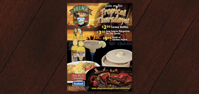 Tropical Thursday table tent design from Roselle Graphic Designer Controlled Color, Inc.