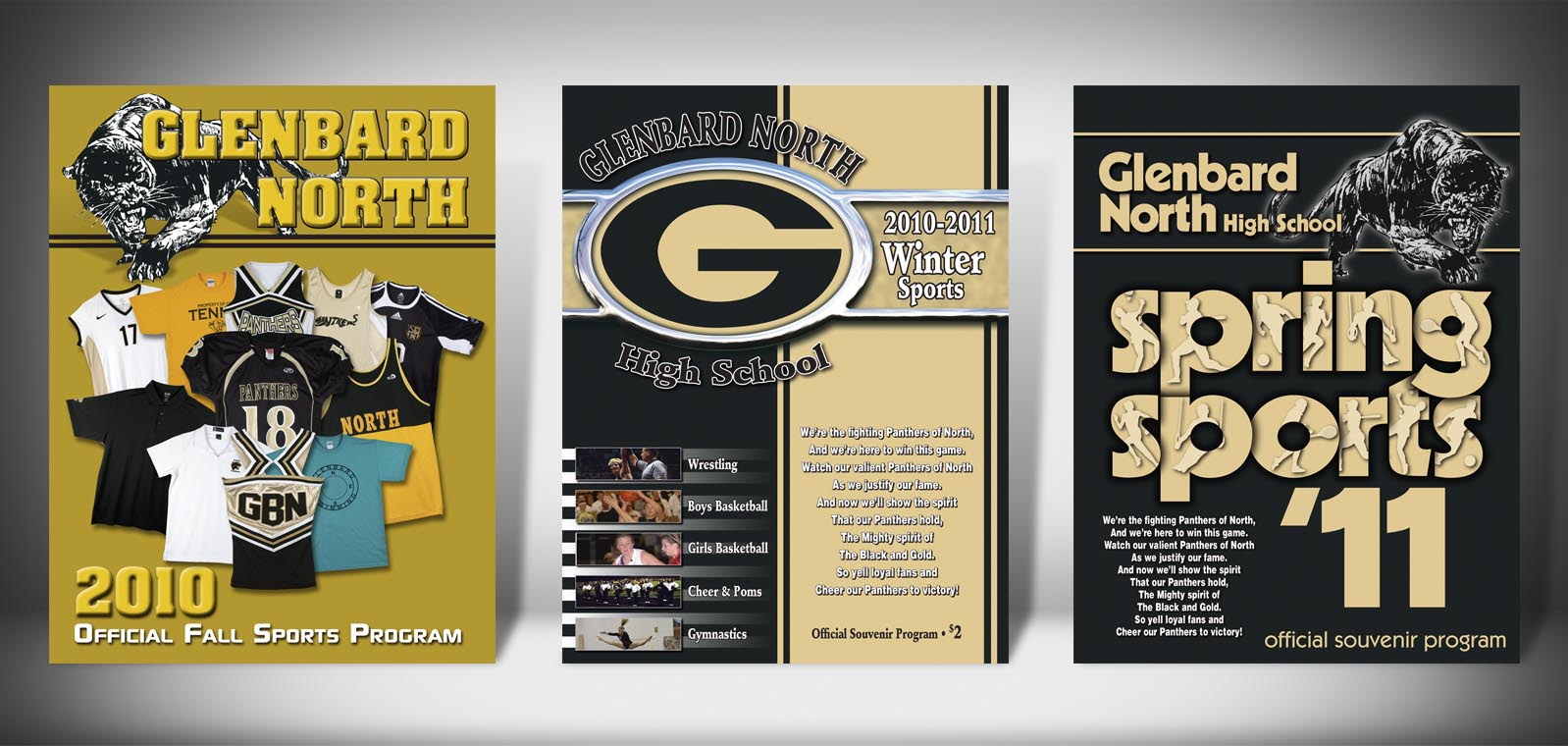 The Front Covers for the 2010-2011 Glenbard North High School Sports Program Graphic Design by Roselle Graphic Designer Controlled Color, Inc.