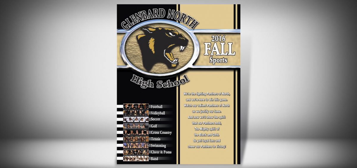 The Front Cover of a Fall 2016 Glenbard North High School Sports Program Graphic Design by Roselle Graphic Designer Controlled Color, Inc.