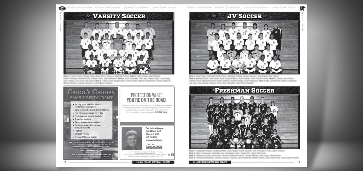 Pages 12 and 13 of a Fall 2016 Glenbard North High School Sports Program Graphic Design by Roselle Graphic Designer Controlled Color, Inc.