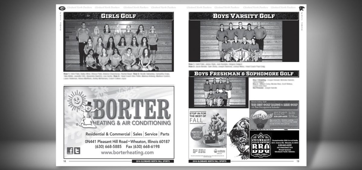 Pages 18 and 19 of a Fall 2016 Glenbard North High School Sports Program Graphic Design by Roselle Graphic Designer Controlled Color, Inc.