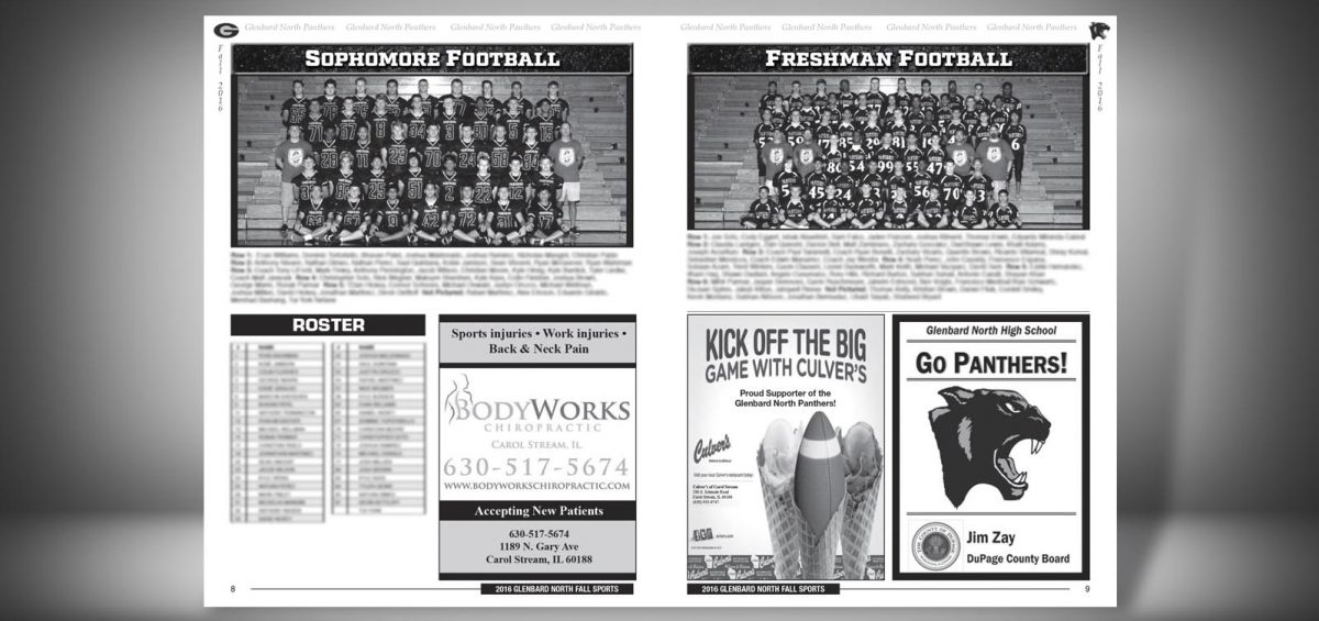 Pages 8 and 9 of a Fall 2016 Glenbard North High School Sports Program Graphic Design by Roselle Graphic Designer Controlled Color, Inc.