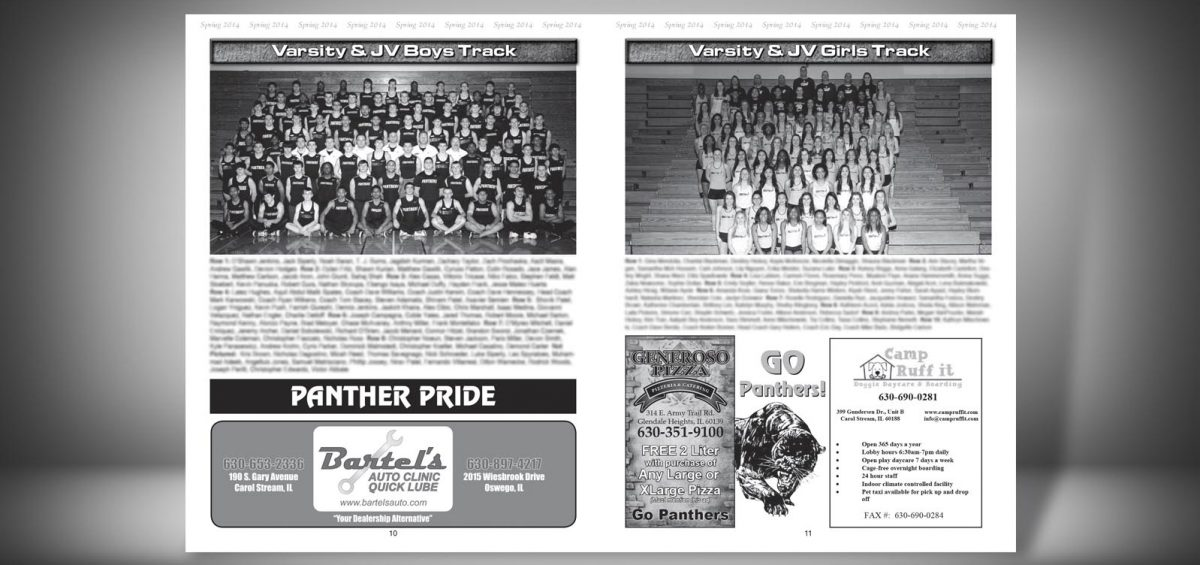 Pages 10 and 11 of a Spring 2014 Glenbard North High School Sports Program Graphic Design by Roselle Graphic Designer Controlled Color, Inc.