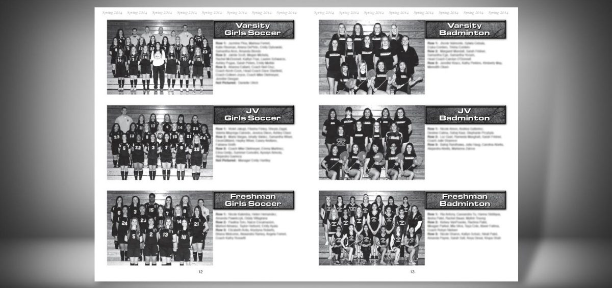 Pages 12 and 13 of a Spring 2014 Glenbard North High School Sports Program Graphic Design by Roselle Graphic Designer Controlled Color, Inc.