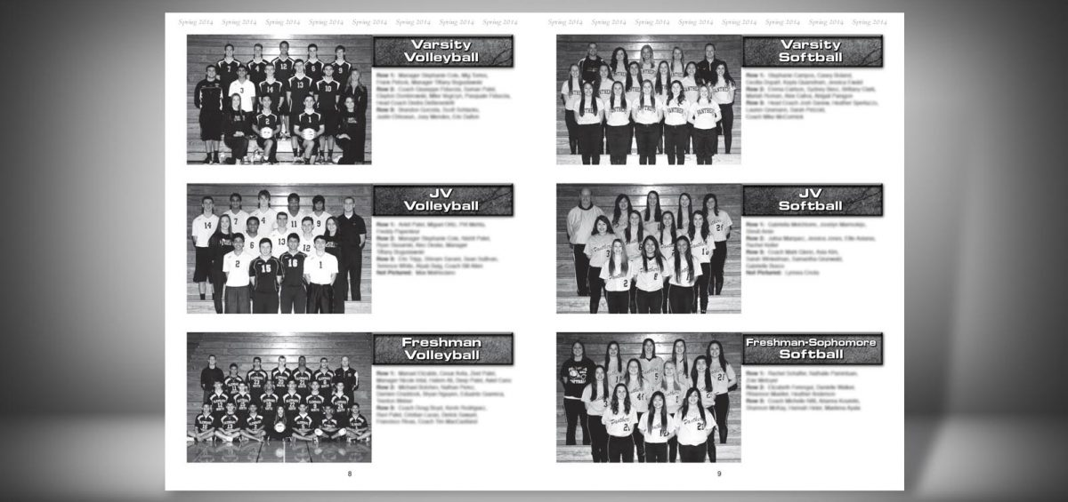 Pages 8 and 9 of a Spring 2014 Glenbard North High School Sports Program Graphic Design by Roselle Graphic Designer Controlled Color, Inc.