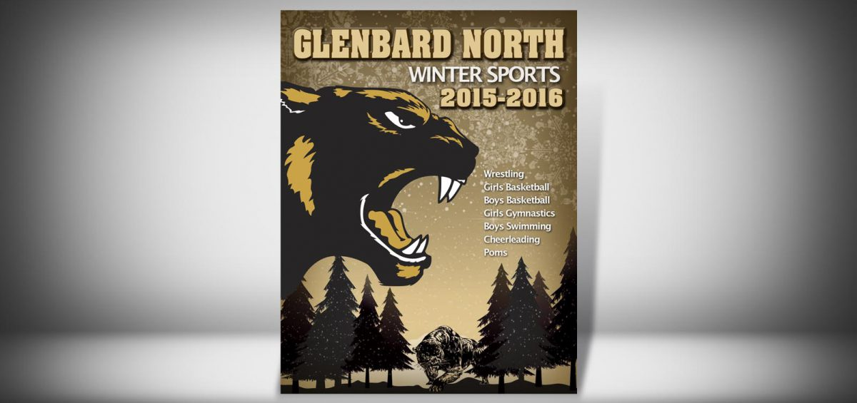 The Front Cover of a Winter 2015 Glenbard North High School Sports Program Graphic Design by Roselle Graphic Designer Controlled Color, Inc.
