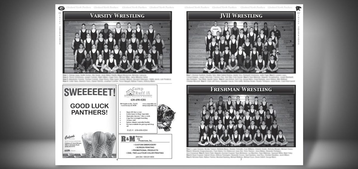 Pages 6 and 7 of a Winter 2015 Glenbard North High School Sports Program Graphic Design by Roselle Graphic Designer Controlled Color, Inc.
