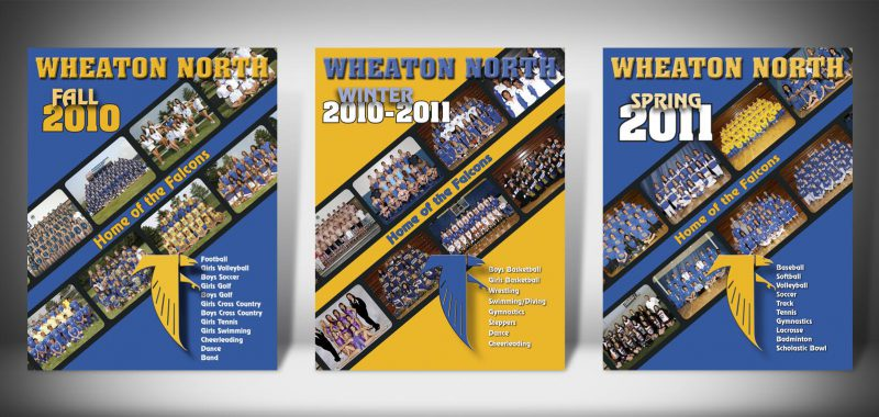 The Front Covers for the 2010-2011 Wheaton North High School Sports Program Graphic Design by Roselle Graphic Designer Controlled Color, Inc.
