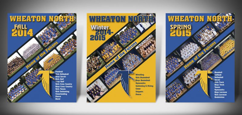The Front Covers for the 2014-2015 Wheaton North High School Sports Program Graphic Design by Roselle Graphic Designer Controlled Color, Inc.