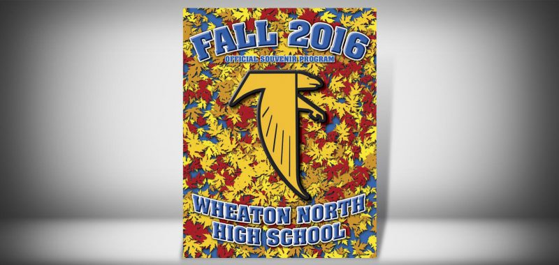 The Front Cover of a Fall 2016 Wheaton North High School Sports Program Graphic Design by Roselle Graphic Designer Controlled Color, Inc.