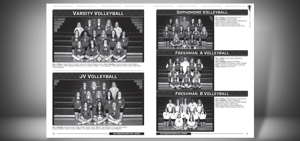 Pages 10 and 11 of a Fall 2016 Wheaton North High School Sports Program Graphic Design by Roselle Graphic Designer Controlled Color, Inc.