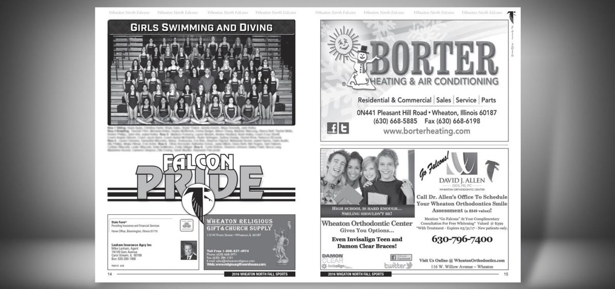 Pages 14 and 15 of a Fall 2016 Wheaton North High School Sports Program Graphic Design by Roselle Graphic Designer Controlled Color, Inc.