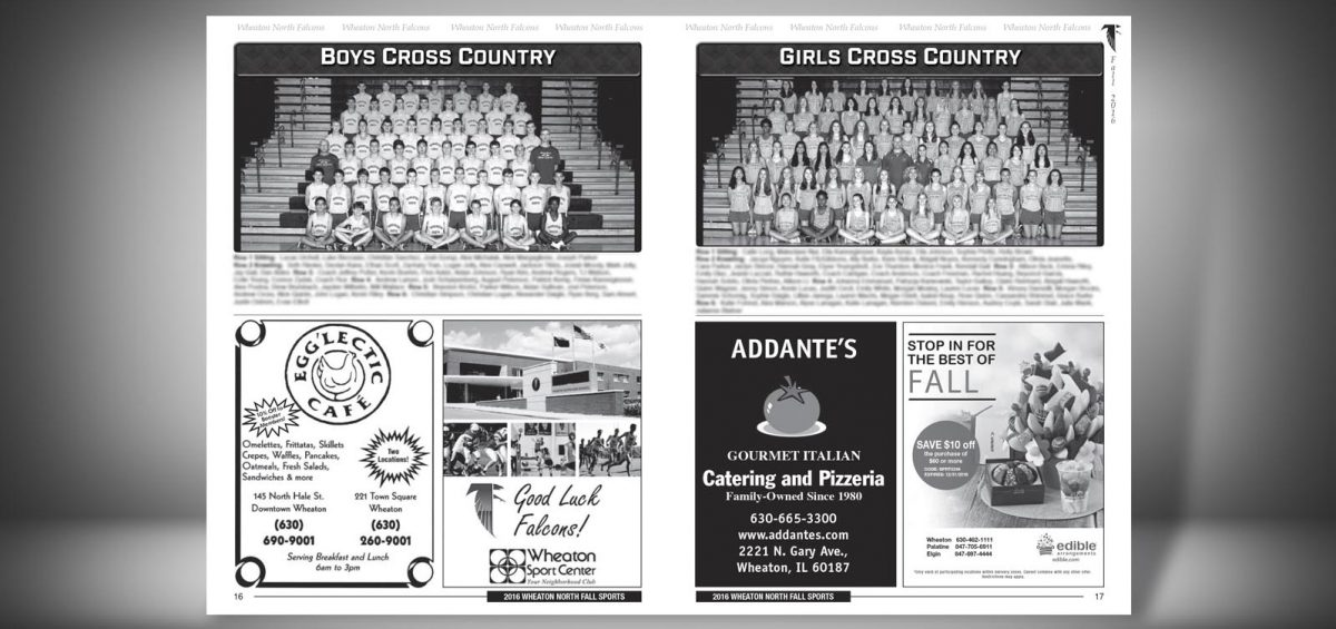 Pages 16 and 17 of a Fall 2016 Wheaton North High School Sports Program Graphic Design by Roselle Graphic Designer Controlled Color, Inc.