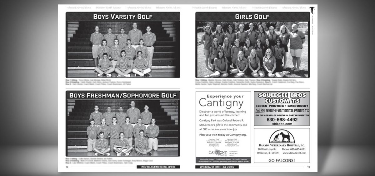 Pages 18 and 19 of a Fall 2016 Wheaton North High School Sports Program Graphic Design by Roselle Graphic Designer Controlled Color, Inc.