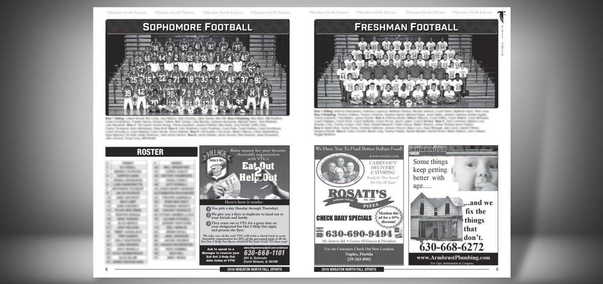 Pages 8 and 9 of a Fall 2016 Wheaton North High School Sports Program Graphic Design by Roselle Graphic Designer Controlled Color, Inc.