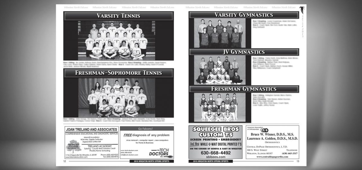 Pages 12 and 13 of a Spring 2015 Wheaton North High School Sports Program Graphic Design by Roselle Graphic Designer Controlled Color, Inc.